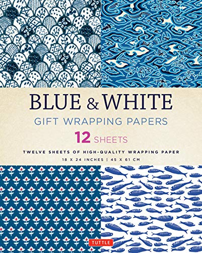 9780804846349: Blue & White Gift Wrapping Papers: 12 Sheets of High-Quality 18 x 24 inch Wrapping Paper
