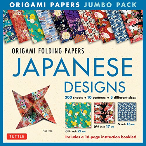 9780804847292: Origami Folding Papers Jumbo Pack: Japanese Designs: 300 High-Quality Origami Papers in 3 Sizes (6 inch; 6 3/4 inch and 8 1/4 inch) and a 16-page Instructional Origami Book