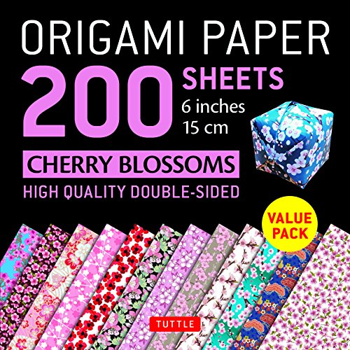 "9780804850315: Origami Paper 200 sheets Cherry Blossoms 6"" (15 cm): Tuttle Origami Paper: High-Quality Origami Sheets Printed with 12 Different Patterns: Instructions for 8 Projects Included (Origami Paper Pack)"