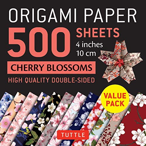 """9780804852838: Origami Paper 500 sheets Cherry Blossoms 4"""" (10 cm): Tuttle Origami Paper: High-Quality Double-Sided Origami Sheets Printed with 12 Different Patterns"""