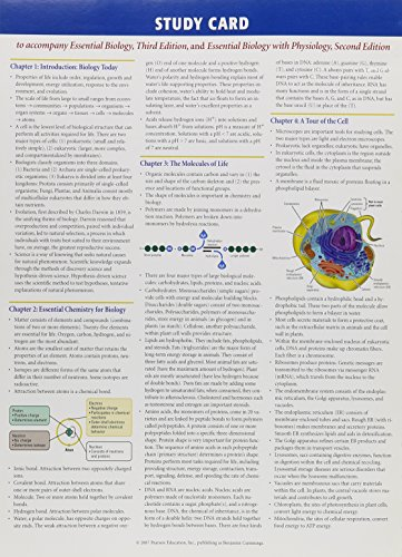 9780805321869: Study Card: To Accompany Essential Biology 3/E & Essential Biology W/Physiology 2/E
