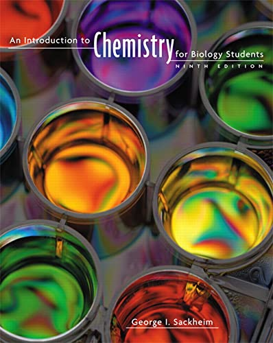 9780805395716: An Introduction to Chemistry for Biology Students