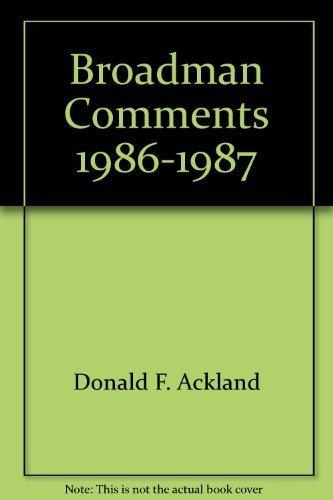 Broadman Comments 1986-1987 (International Sunday School Lessons): Donald F. Ackland
