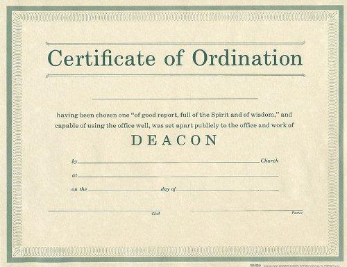 9780805472707: Certificate of Ordination Deacon Parchment Paprer