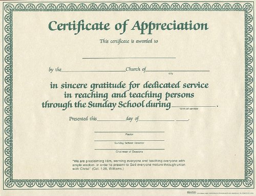 9780805472837: Certificate of Appreciation for Sunday School Worker 6pk