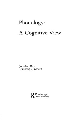 9780805804669: Phonology: A Cognitive View (Tutorial Essays in Cognitive Science Series)