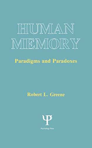9780805809961: Human Memory: Paradigms and Paradoxes