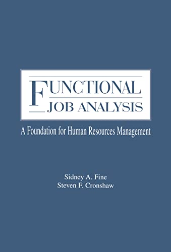 9780805812749: Functional Job Analysis: A Foundation for Human Resources Management (Applied Psychology Series)