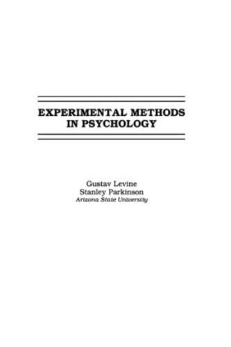 9780805814385: Experimental Methods in Psychology