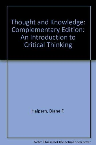9780805823424: Thought and Knowledge: a Guide to Critical Thinking