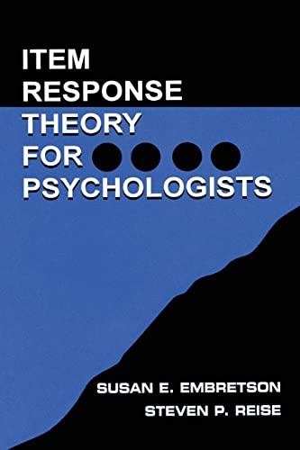 9780805828191: Item Response Theory: Item Response Theory for Psychologists (Multivariate Applications Series)