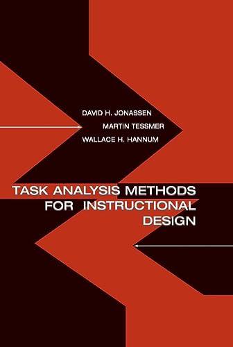 9780805830866: Task Analysis Methods for Instructional Design
