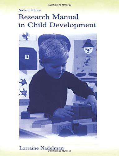 9780805840414: Research Manual in Child Development