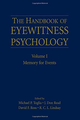 9780805851519: The Handbook of Eyewitness Psychology: Volume I: Memory for Events: Volume 1