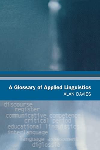 9780805857290: A Glossary of Applied Linguistics