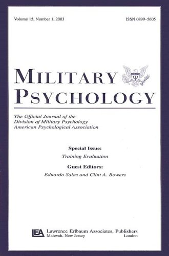 9780805896275: Training Evaluation: A Special Issue of military Psychology