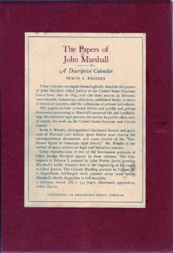 The Papers of John Marshall: A Descriptive Calendar: Rhodes, Irwin S.
