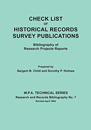 9780806300726: Check List of Historical Records Survey Publications : Bibliography of Research Projects Reports