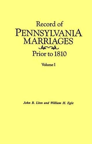 Record of Pennsylvania Marriages Prior to 1810: Linn, John B.