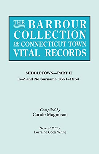 9780806316048: The Barbour Collection of Connecticut Town Vital Records [Vol. 27] Middletown