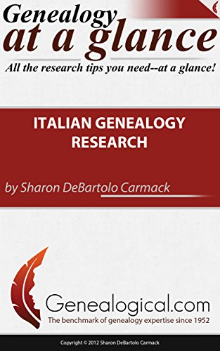 Italian Genealogy Research Quick Reference Guide (Genealogy at a Glance) (0806318996) by Sharon Debartolo Carmack