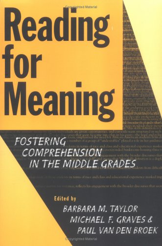 9780807738962: Reading for Meaning: Fostering Comprehension in the Middle Grades (Language and Literacy Series (Teachers College Pr))