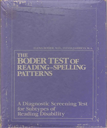 9780808914457: BODER TEST OF READING/ SPELLING PATTERNS Diagnostic Screening Test for Subtypes of Reading Disability