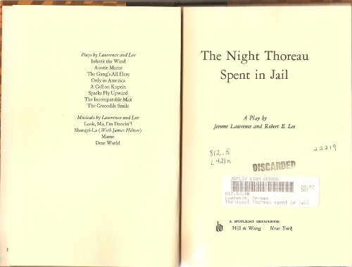 9780809073672: The Night Thoreau Spent in Jail: A Play,