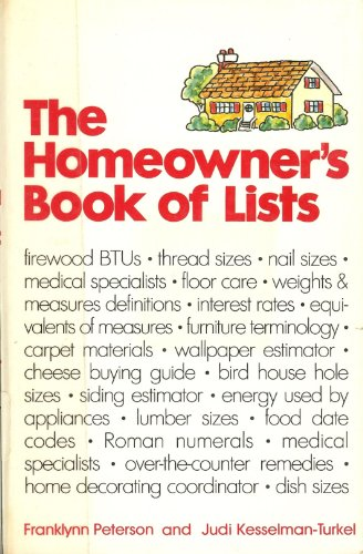 The homeowner's book of lists (0809258560) by Judi Kesselman-Turkel