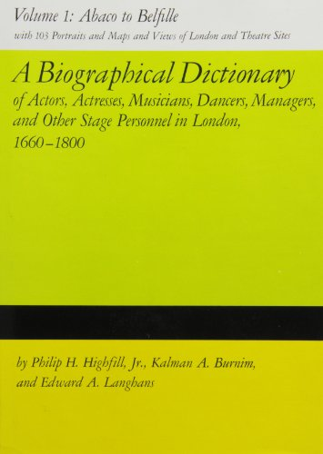 9780809305179: A Biographical Dictionary of Actors, Volume 1, Abaco to Belfille: Actresses, Musicians, Dancers, Managers, and Other Stage Personnel in London, ... Dictionary of Actors & Actresses, 1660-1800)