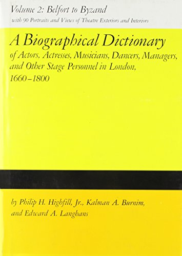 9780809305186: A Biographical Dictionary of Actors, Volume 2, Belfort to Byzand: Actresses, Musicians, Dancers, Managers, and Other Stage Personnel in London, ... Dictionary of Actors & Actresses, 1660-1800)