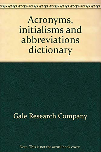 9780810305038 - Ellen T Crowler: Acronyms Initialisms Abbreviations Volume 1 - Livre