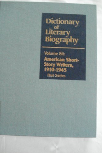 9780810345645: DLB 86: American Short Story Writers 1910-1945, First Series (Dictionary of Literary Biography)