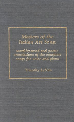9780810823631: Masters of the Italian Art Song