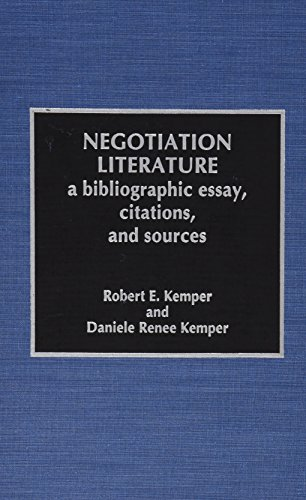 negotiation literature a bibliographic essay citations and  negotiation literature a bibliographic essay citations and sources hardback robert