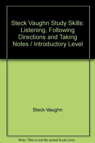 9780811415385: Steck Vaughn Study Skills: Listening, Following Directions and Taking Notes / Introductory Level