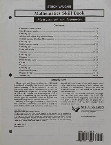 9780811443227: Steck-Vaughn Mathematics Skill Books: Student Edition 10pk Measurement and Geometry