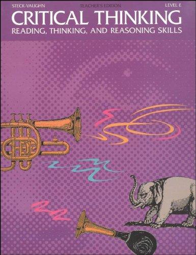 9780811466103: Steck-Vaughn Critical Thinking: Softcover Teacher's Edition (Level E) 1993