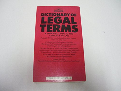 9780812036022: Title: Dictionary of Legal Terms A simplified Guide to th