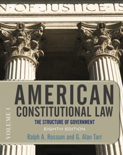 9780813344775: American Constitutional Law, Eighth Edition, Volume 1: The Structure of Government (American Constitutional Law: The Structure of Government (V1))