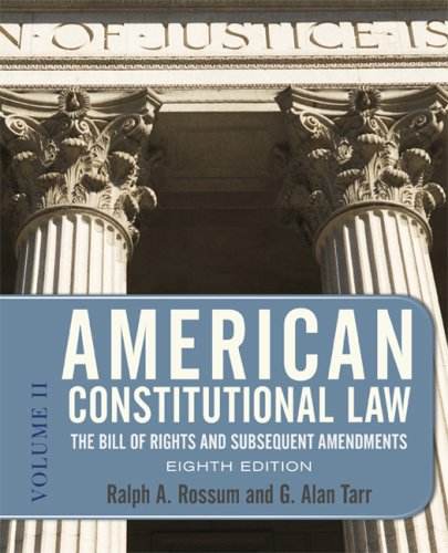9780813344782: American Constitutional Law, Eighth Edition, Volume 2: The Bill of Rights and Subsequent Amendments (American Constitutional Law: The Bill of Rights & Subsequent Amendments (V2))