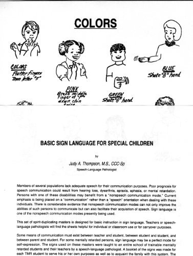 9780813423982: Basic Sign Language for Special Children