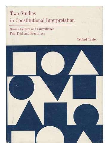 9780814201220: Two Studies in Constitutional Interpretations