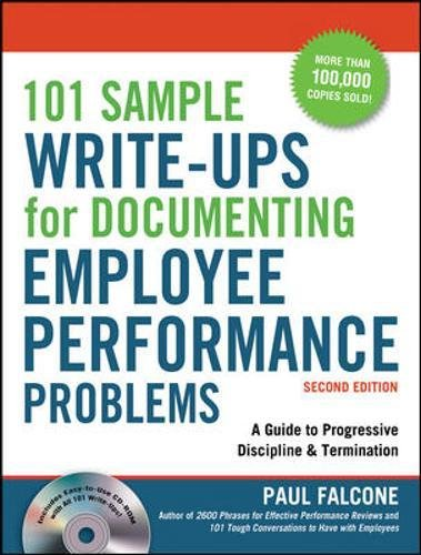 9780814415467: 101 Sample Write-Ups for Documenting Employee Performance Problems: A Guide to Progressive Discipline & Termination
