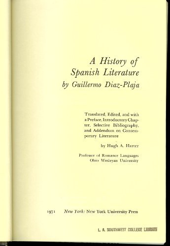 A History of Spanish Literature: Guillermo Díaz-Plaja