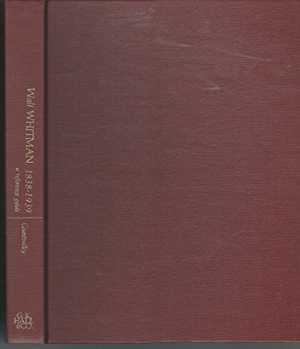 Walt Whitman, 1838-1939: A Reference Guide (Reference Guide to Literature)