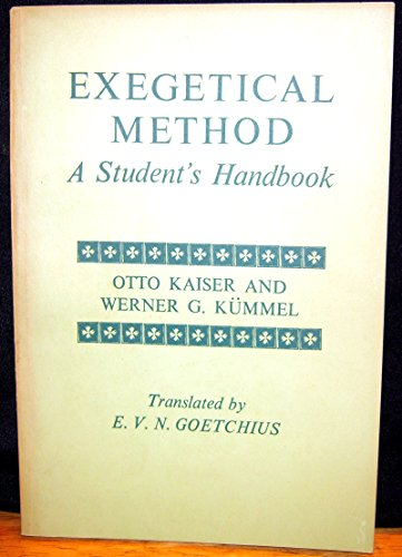 9780816420186: Exegetical method;: A student's handbook