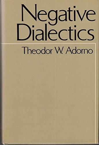 9780816491292: Negative Dialectics (A Continuum Book)