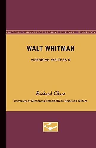9780816602414: Walt Whitman - American Writers 9: University of Minnesota Pamphlets on American Writers (University of Minnesota Pamphlets on American Writers (Paperback))