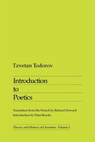 9780816610112: Introduction To Poetics (Theory and History of Literature)